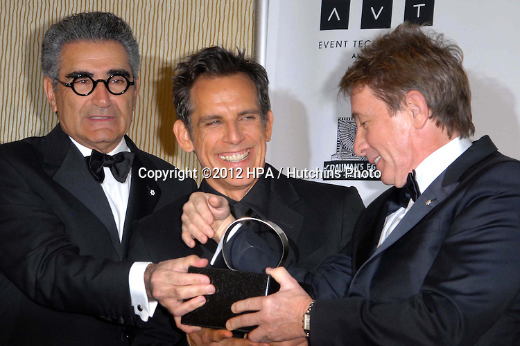 LOS ANGELES - NOV 15:  Eugene Levy, Ben Stiller, Martin Short in the press room of the 26th American Cinematheque Award Honoring Ben Stiller at Beverly Hilton Hotel on November 15, 2012 in Beverly Hills, CA