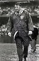Raider coach John Madden in the rain 1970.(photo copyright Ron Riesterer)