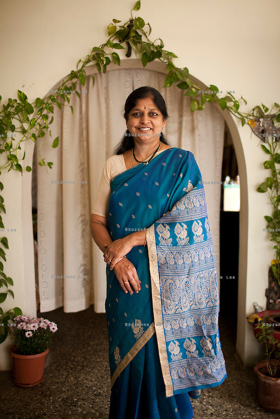 Mrs Amareshwari Morla, aged 56, a Social Scientist with the Government of Andhra Pradesh and a Sanofi pharmaceutical product user, poses for a portrait in her house in Hyderabad, Andhra Pradesh, India on 27 November 2011. Photo by Suzanne Lee for Capa Pictures