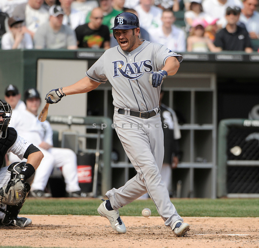 JOHNNY DAMON, of the Tampa Bay Rays , in actions during the Rays game against the Chicago White Sox at US Cellular Field on April 10, 2011.  The Chicago White Sox won the game beating the Tampa Bay Rays 6-1.