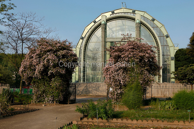 View of the newly restored Art Deco Tropical Rainforest Glasshouse (formerly Le Jardin d'Hiver or Winter Gardens) built in 1936 by Rene Berger and seen from the Jardin de l'Ecole de Botanique (garden of the botanical school) located in the Jardin des Plantes, Paris, 5th arrondissement, France. Founded in 1626 by Guy de La Brosse, Louis XIII's physician, the Jardin des Plantes, originally known as the Jardin du Roi, opened to the public in 1640. It became the Museum National d'Histoire Naturelle in 1793 during the French Revolution. Picture by Manuel Cohen