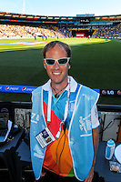 Media assistant Robbie Titchener during the ICC Cricket World Cup one day pool match between the New Zealand Black Caps and England at Wellington Regional Stadium, Wellington, New Zealand on Friday, 20 February 2015. Photo: Dave Lintott / lintottphoto.co.nz