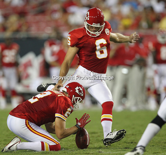 Kansas City Chief's place kicker Ryan Succop kicks a field goal for the Chiefs in the third quarter. The Buccaneers defeated the Chiefs 20-15 during an NFL preseason game Saturday, Aug. 21, 2010 in Tampa,Fla. (AP Photo/Margaret Bowles).