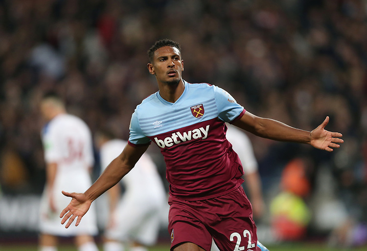 West Ham United's Sebastien Haller celebrates scoring his side's first goal <br /> <br /> Photographer Rob Newell/CameraSport<br /> <br /> The Premier League - West Ham United v Crystal Palace - Saturday 5th October 2019 - London Stadium - London<br /> <br /> World Copyright © 2019 CameraSport. All rights reserved. 43 Linden Ave. Countesthorpe. Leicester. England. LE8 5PG - Tel: +44 (0) 116 277 4147 - admin@camerasport.com - www.camerasport.com