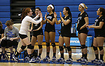 Marymount's Cassidie Watson pumps up her teammates before a college volleyball game against Mary Washington, in Arlington, Vir., on Saturday, Nov. 1, 2014.<br /> Photo by Cathleen Allison
