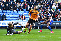 Hull City  keeper George Long  saves from Yakou Meite of Reading right during Reading vs Hull City, Sky Bet EFL Championship Football at the Madejski Stadium on 8th February 2020