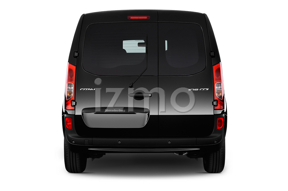 Straight rear view of 2017 Mercedes Benz Citan Perfect-Tool 5 Door Cargo Van Rear View  stock images