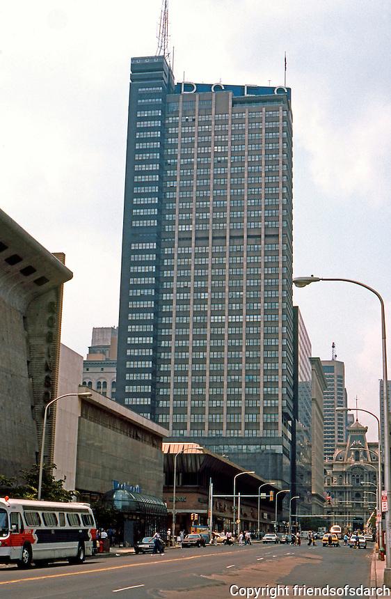 George Howe & Wm. Lescaze: PSFS Building, Philadelphia 1930-32. First International style building in U.S. (Philadelphia Savings Fund Society Bldg.)   Photo '85.