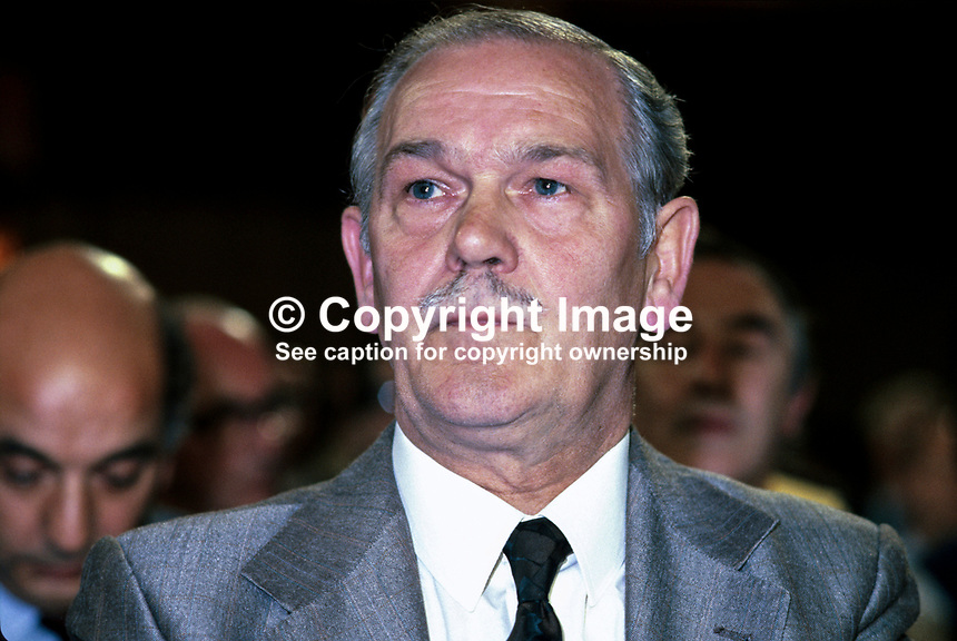 Terry Duffy, president, AUEW, Amalgamated Union of Engineering Workers, in the audience at the annual conference of the UK Labour Party. 198010000312.<br />