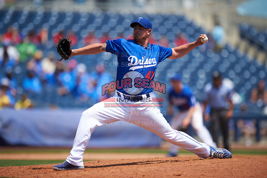 Tulsa Drillers pitcher Jeremy Horst (47) delivers a pitch during a game against the Midland RockHounds on June 3, 2015 at Oneok Field in Tulsa, Oklahoma.  Midland defeated Tulsa 5-3.  (Mike Janes/Four Seam Images)