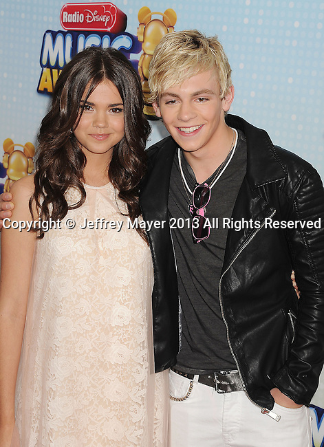 LOS ANGELES, CA- APRIL 27: Actors Maia Mitchell and Ross Lynch arrive at the 2013 Radio Disney Music Awards at Nokia Theatre L.A. Live on April 27, 2013 in Los Angeles, California.