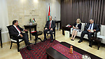 Palestinian Prime Minister Rami Hamdallah meets with Portugal's representative to Palestine Pedro Abreu, at his office in the West Bank city of Ramallah, on July 09, 2017. Photo by Prime Minister Office