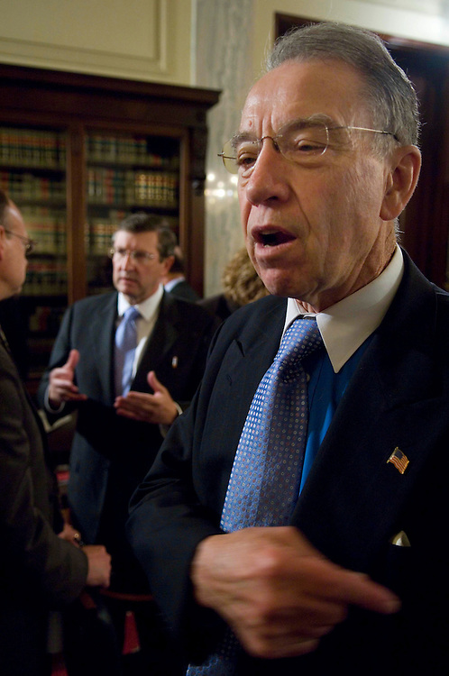 WASHINGTON, DC - Oct. 24: Sen. Kent Conrad, D-N.D., and Sen. Charles E. Grassley, R-Iowa, talk to reporters during a break in the Senate Agriculture markup of legislation that would reauthorize federal farm programs. (Photo by Scott J. Ferrell/Congressional Quarterly).