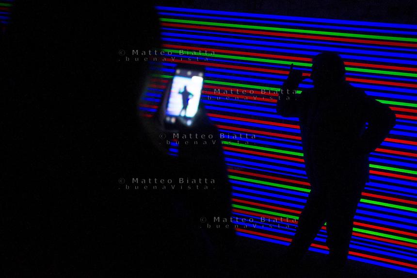 Cidneon - Festival Internazionale delle luci nella foto installazione nel castello di Brescia eventi Brescia 12/02/2017 foto Matteo Biatta<br /> <br /> Cidneo - International festival of the lights in the picture artistic installation in the Castle of Brescia events Brescia 12/02/2017 photo by Matteo Biatta