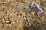 A local Siwan young man holds human skull found on the outskirts of the Siwa Town in the Siwa Oasis, Egypt near an abandoned and raided burial tomb.
