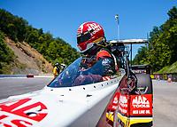 Jun 16, 2018; Bristol, TN, USA; NHRA top fuel driver Doug Kalitta during qualifying for the Thunder Valley Nationals at Bristol Dragway. Mandatory Credit: Mark J. Rebilas-USA TODAY Sports