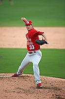 Palm Beach Cardinals pitcher Josh Lucas (33) delivers a pitch during the first game of a doubleheader against the Dunedin Blue Jays on August 2, 2015 at Florida Auto Exchange Stadium in Dunedin, Florida.  Palm Beach defeated Dunedin 4-1.  (Mike Janes/Four Seam Images)