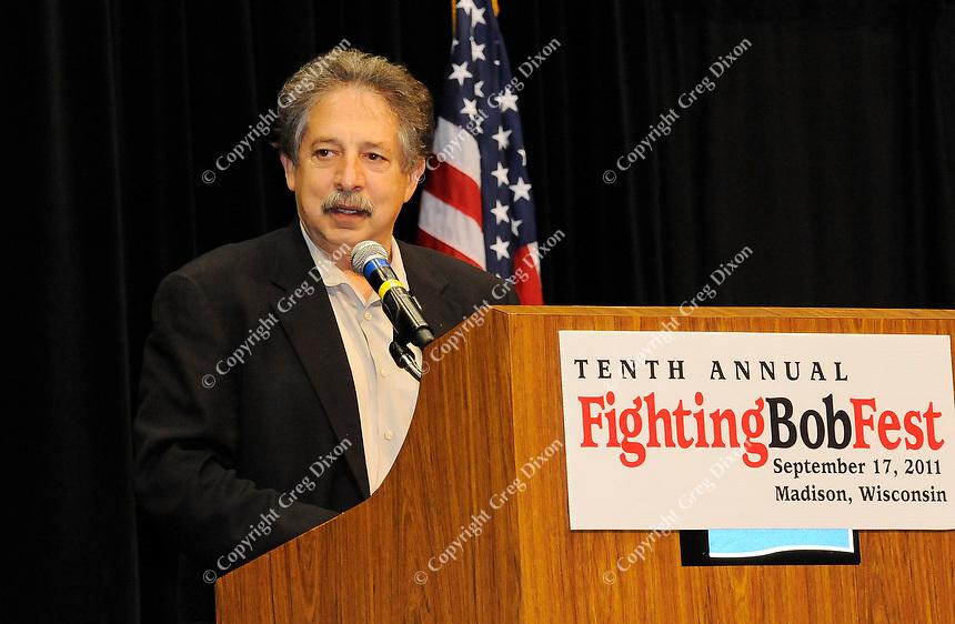 Madison mayor, Paul Soglin, addresses Fighting Bob Fest on Saturday, September 17, 2011 at the Alliant Energy Center in Madison, Wisconsin
