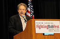 Madison mayor, Paul Soglin, addresses Fighting Bob Fest on Saturday, September 17, 2011 at the Alliant Energy Center in Madison, Wisconsin
