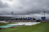 The ground staff mopping up early morning after the previous few days weather during England vs West Indies, ICC World Cup Cricket at the Hampshire Bowl on 14th June 2019