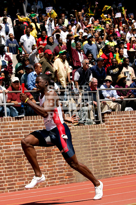 Justin Gatlin of Team USA anchors the 4x100 relay race on Saturday, April 29, 2006 during the 112th running of the Penn Relays Carnival at Franklin Field in Philadelphia Pennsylvania...