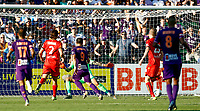 11th January 2020; HBF Park, Perth, Western Australia, Australia; A League Football, Perth Glory versus Adelaide United; Bruno Fornaroli Mezza of Perth Glory shoots past Adelaide keeper Blackwood  only to miss the net - Editorial Use