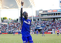 Kansas City Wizards midfielder Kei Kamara celebrates his goal in the corner with fans. The Kansas City Wizards defeated CD Chivas USA 2-0 at Home Depot Center stadium in Carson, California on Sunday September 19, 2010.