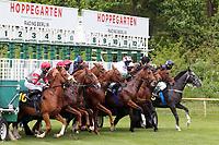 10.05.2020, Hoppegarten, Brandenburg, Germany;  Jockeys wearing masks at the Berlin Hoppegarten Gallop; Picture shows the Start to race