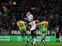Bolton Wanderers' Mark Beevers up for a header<br /> <br /> Photographer Andrew Kearns/CameraSport<br /> <br /> The EFL Sky Bet Championship - Bolton Wanderers v West Bromwich Albion - Monday 21st January 2019 - University of Bolton Stadium - Bolton<br /> <br /> World Copyright © 2019 CameraSport. All rights reserved. 43 Linden Ave. Countesthorpe. Leicester. England. LE8 5PG - Tel: +44 (0) 116 277 4147 - admin@camerasport.com - www.camerasport.com