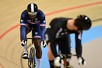 Picture by SWpix.com - 02/03/2018 - Cycling - 2018 UCI Track Cycling World Championships, Day 3 - Omnisport, Apeldoorn, Netherlands - Men's Sprint 1/16 - Melvin Landerneau of France and Sam Webster of New Zealand