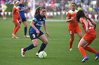 Kansas City, MO - Saturday May 07, 2016: Houston Dash defender Allysha Chapman (15) defends against FC Kansas City midfielder Heather O'Reilly (9) during a regular season National Women's Soccer League (NWSL) match at Swope Soccer Village.