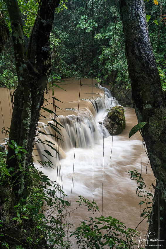 The Magic Waterfalls or Cascadas Magicas on the Rio Copalitilla in the Sierra Madre Mountains above Huatulco, Mexico.  Heavy rains discolored the water.