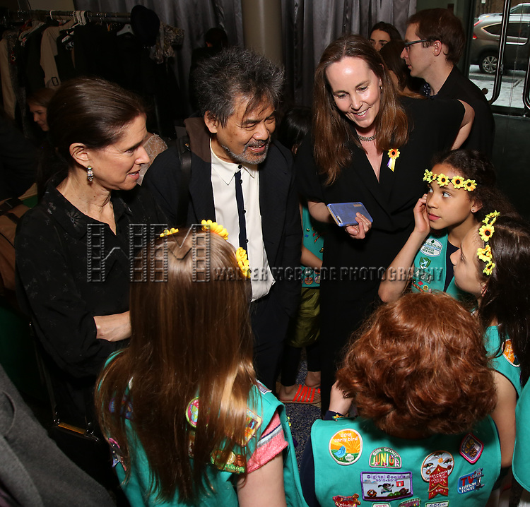 Julie Taymor, David Henry Hwang and girlfriends attends the The Lilly Awards  at Playwrights Horizons on May 22, 2017 in New York City.