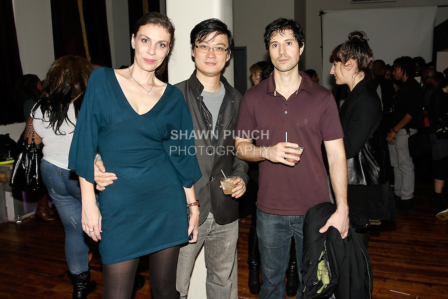 Guests pose at the William Watson Spring Summer 2012 fashion presentation on October 27, 2011.