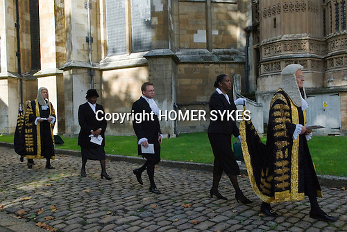 Lord Chancellors Breakfast. Judges walk from Westminster Abbey to the House of Lords. Central London