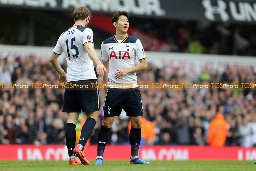 Son Heung-Min of Tottenham Hotspur is congratulated after scoring the second goal during Tottenham Hotspur vs Millwall, Emirates FA Cup Football at White Hart Lane on 12th March 2017