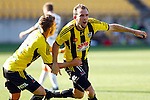 Phoenix's Tyler Boyd, left, congratulates Jeremy Brockie, right after he scores his second goal against the Brisbane Roar in the A-League football match at Westpac Stadium, Wellington, New Zealand, Sunday, January 04, 2015. Credit: Dean Pemberton