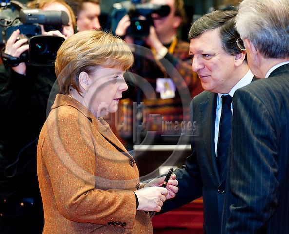 Brussels-Belgium - March 02, 2012 -- European Council, EU-summit during Danish Presidency; here, Angela MERKEL (le), Federal Chancellor of Germany, with José (Jose) Manuel BARROSO (ri), President of the European Commission -- Photo: Horst Wagner / eup-images