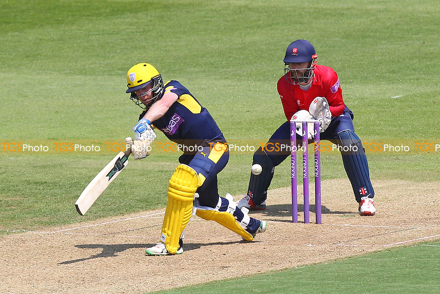 Adam Wheater in batting action for Hampshire as James Foster looks on from behind the stumps during Hampshire vs Essex Eagles, Royal London One-Day Cup Cricket at the Ageas Bowl on 5th June 2016