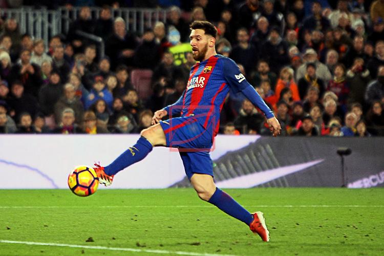 League Santander 2016/2017. Game: 16.<br /> FC Barcelona vs RCD Espanyol: 4-1.<br /> Lionel Messi.