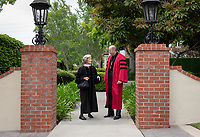 Ann Kerr-Adams '56 and President Jonathan Veitch<br />
