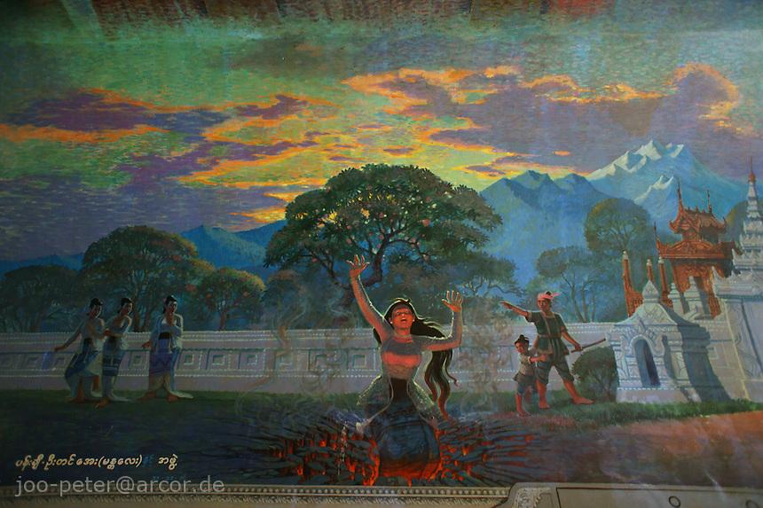 wall painting in Maha Wizaya pagoda complex, Yangon, Myanmar, 2011