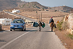 Donkey transport along the roadway, Folegandros, Cyclades, Greece