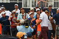 Excited fans congratulate Lanto Griffin (USA) as he heads to sign his scorecard after winning the 2019 Houston Open, Golf Club of Houston, Houston, Texas, USA. 10/13/2019.<br /> Picture Ken Murray / Golffile.ie<br /> <br /> All photo usage must carry mandatory copyright credit (© Golffile | Ken Murray)