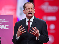 National Harbor, MD - February 28, 2019: U.S. Labor Secretary Alex Acosta participates in a discussion during the annual Conservative Political Action Conference (CPAC) held at the Gaylord National Resort at National Harbor, MD February 28, 2019.  (Photo by Don Baxter/Media Images International)