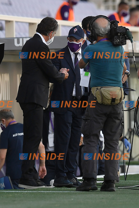 Diego Luis Lopez coach of Brescia Calcio greets Giuseppe Iachini coach of Fiorentina prior to the Serie A football match between ACF Fiorentina and Brescia Calcio at Artemio Franchi stadium in Florence ( Italy ), June 22th, 2020. Play resumes behind closed doors following the outbreak of the coronavirus disease. <br /> Photo Antonietta Baldassarre / Insidefoto