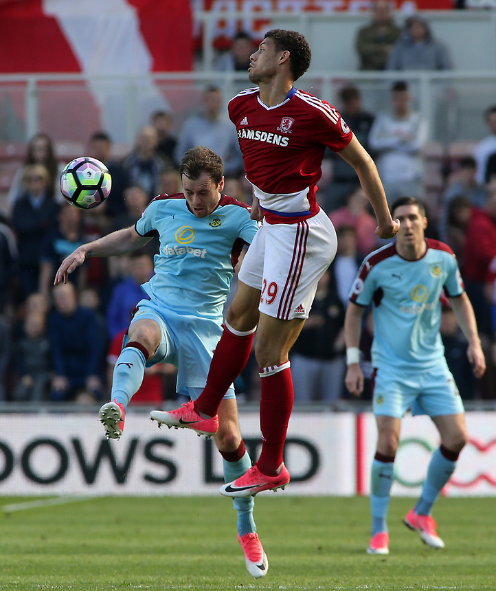 Burnley's Ashley Barnes battles with Middlesbrough's Rudy Gestede<br /> <br /> Photographer David Shipman/CameraSport<br /> <br /> The Premier League - Middlesbrough v Burnley - Saturday 8th April 2017 - Riverside Stadium - Middlesbrough<br /> <br /> World Copyright &copy; 2017 CameraSport. All rights reserved. 43 Linden Ave. Countesthorpe. Leicester. England. LE8 5PG - Tel: +44 (0) 116 277 4147 - admin@camerasport.com - www.camerasport.com