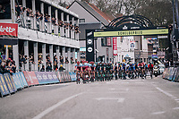 Team Katusha-Alpecin controlling the front of the peloton to provide 5-time Scheldeprijs winner Marcel Kittel a perfect launchpad for the finale (in the local laps)<br /> <br /> 106th Scheldeprijs 2018 (1.HC)<br /> 1 Day Race: Terneuzen (NED) - Schoten (BEL)(200km)