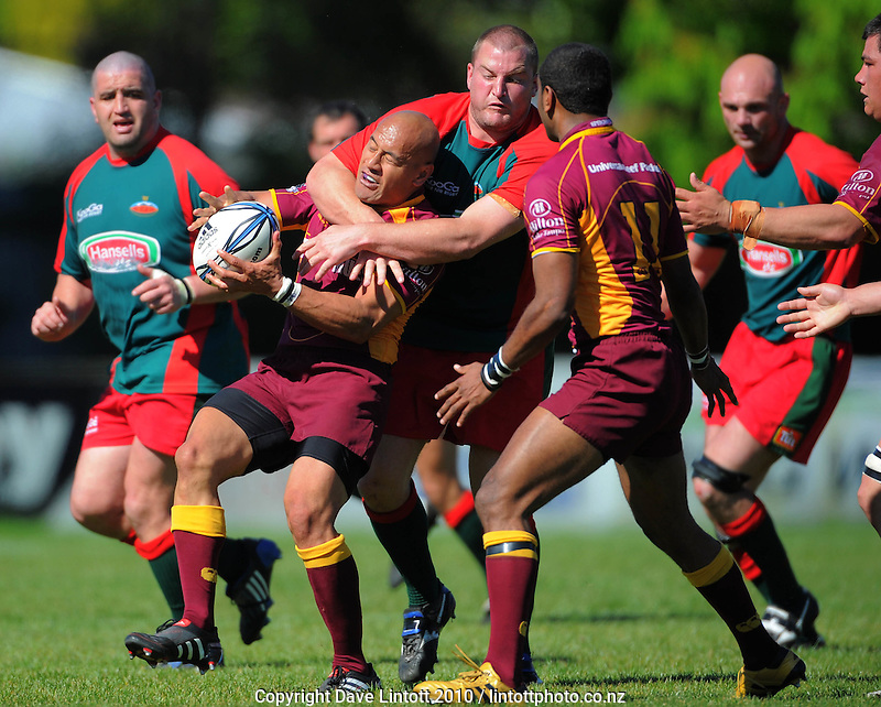 Bush prop Kurt Simmonds tackles Tanner Vili. Heartland Championship rugby - Wairarapa Bush v North Otago at Trust House Memorial Park, Masterton, New Zealand on Saturday, 25 September 2010. Photo: Dave Lintott /  lintottphoto.co.nz