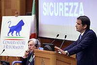 Roma, 16 Luglio 2015<br /> Raffaele Fitto e il conservatore inglese, Geoffrey Van Orden.<br /> Raffaele Fitto presenta il simbolo del nuovo partito, Conservatori e riformisti.